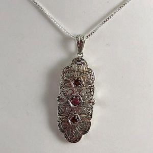Opal & Garnet set in 925 Silver  Filigree Pendant